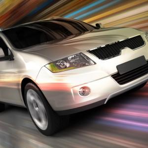 SUV car driving fast